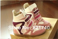 new 2014 women shoes Increased within the high-top Velcro mixed colors leather shoes black red pink women boots