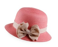 Free Shipping Numbness Hat New Natural Straw Hat Bow Dome Hat Shading