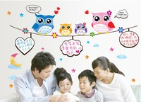 Cute Colorful OWL Family Branch PVC Wall Stickers Decal Decor FOR Kids Bedroom Sofa  Free Shipping