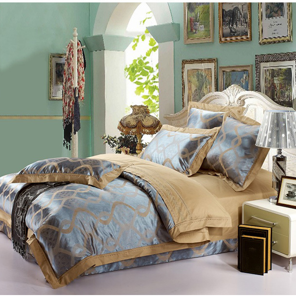 6pcs Free shipping high-end Silk Satin drill western style queen size Bedding Set Jacquard Luxury duvet covers/bed sheet(China (Mainland))