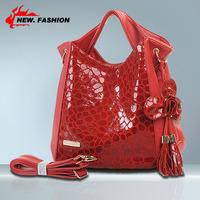 Hot Sale 2014 New Serpentine Floral Tassel Mango Genuine Leather Women Handbag Shoulder Totes Messenger Bags 8colors NO1318