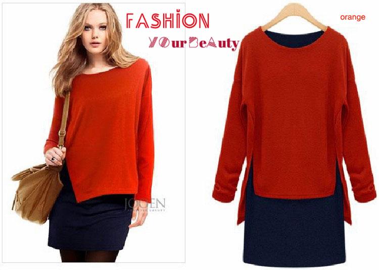 Orange And Blue Sweater Dress Winter Dress Blue/orange