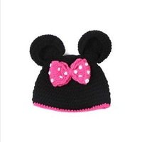 2013 New Cute Mickey Mouse Design Baby Hat Big Butterfly-Knot Decorate Knitted Cap For Toddler