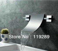 Polished Chrome Double Handles Ultra-Thin Spout Bathroom Widespread Waterfall Faucet.Bathroom BathTub Wall Mounted Tap KRLT-002.