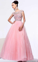 2014 Sparking Crystal Prom Dresses Long Women Custom Made Organza Pink Floor Length Beaded Sequins New Fashion Sexy Party Gowns