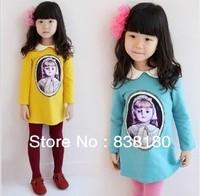 Christmas pattern dress for girls long/full sleeve lapel girl dress children kids princess party candy color girls' dresses