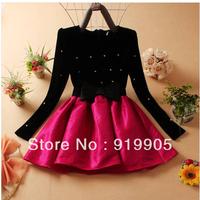 Free shipping 2013 autumn and winter women's new Korean ladies gold velvet beaded long sleeve dress Puff
