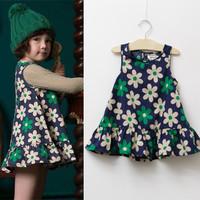 2T-8 years 2014 summer European and American style children girls sweet sleeveless dresses ruffles six flower baby girl dress