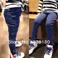 autumn summer Korean children fashion pants girls base jeans navy denim trousers all-match zipper cowboy trousers Pants for kids