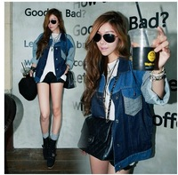 New stripe splicing stitching loose cool boy style jean jackets coats denim women's coat free ship