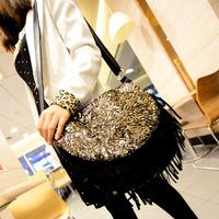 fringe bag women bag fashion bag Golden sequins Black tassel Foil female glamour Free shipping