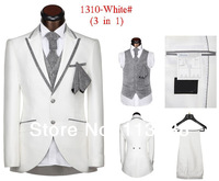 2014 New Design Men 5 Pieces in One Set High Quality White Wedding Suits Free Shipping