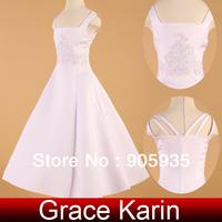 Free Shipping!Christmas Princess Simple Design Grace Karin Kids Flower Little Girl Bridesmaid Wedding Party Dress White CL4834