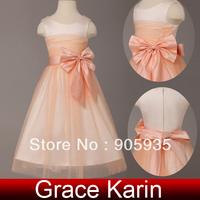 Free Shipping!Princess Design!Grace Karin Bowknot Sleeveless Flower Girl Wedding Pageant Evening Party Dress Orange CL4837