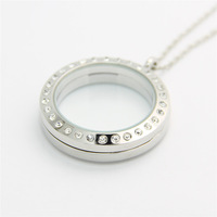 Canlyn Jewelry (3 pcs/lot) Floating Charms Locket Living Locket Medium Silver ROLO Chain Necklace & Pendants FL001R