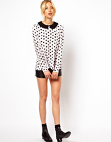 2013 summer new European crisis point a little black lapel long-sleeved chiffon shirt 9953