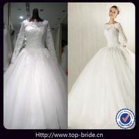 TBNV607 Romantic Lace Real Long Sleeve Wedding Dresses