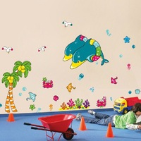 2013 New 5PCS Dolphin Kids Bedroom Wall Stickers Decor Vinyl Wall Decals For Children Bathroom Decoration Window Stickers