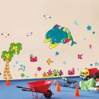 2014 New Dolphin Kids Bedroom Wall Stickers Decor Vinyl Wall Decals For Children Bathroom Decoration Window Stickers