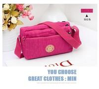 KP-041 New hot 3zipper casual waterproof nylon shoulder women messenger bag sling cross body women bag Free shipping
