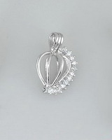 POP! 18kgp Heart-Shaped Shining Gem Pearl Bead Cage /Pendant with Rhodium Plated for Jewelry, Bracelet /Necklace, Free Shipping