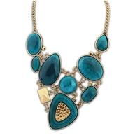 statement stone necklace for women imitate gemstone jewerly wholesale retro geometric necklace fashion 2014 necklaces pendants