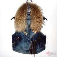 women denim vest with raccoon fur ,Rivet on collar,  zipper vest, motorcycle style, raccoon fur collar fur denim vest