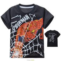 2014 New boy's t shirt Spiderman 100% cotton short-sleeved t-shirt printing children's cartoon gray kids boys child's clothes