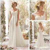 2014 Newest Fashion Lace Appliques White V-Neck Cap Sleeve Unique Wedding Dresses Vintage Wedding Gown
