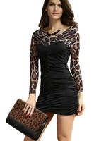 2013 Autum-Summer European New Fashion Women Dresses V Neck Pleated Leopard Slim Package Hip Club Sexy Casual Dress 2906