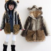 2013 Korean children YLT thick lamb's wool winter models girls cartoon Teddy Bear fur imitation rabbit fur coat