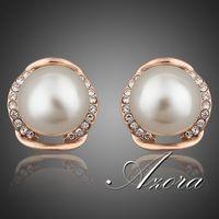AZORA Rose Gold Plated Stellux Austrian Rhinestone with Pearl Stud Earrings TE0051