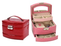 Free Shipping Retail High Grade Pink Cosmetic Case  Makeup Beauty Case , cosmetics case Jewelry box