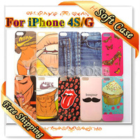 New Arrival Fashion Luxury Sexy Girl Case for Apple iPhone 4 S G Soft Phone Covers Free Shipping