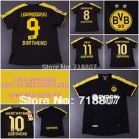 THAILAND REUS BVB Dortmund Jersey 13/14 Black Gundogan Shirts M.Gotze Dortmund Away Soccer Jerseys 2014 LEWANDOWSKI Kit