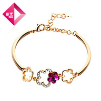 Neoglory Crystal 14K Gold Plated Auden Rhinestone Bracelet Charm Bangle Birthday Gift