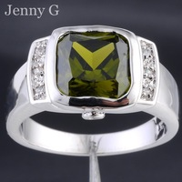 Jenny G Brand Jewelry Size 8-12 Men's Square Green Peridot Stone 10KT White Gold Filled Ring