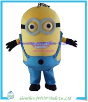 new products 2014 2 eyes despicable me minion mascot costume for adults Free Shippping