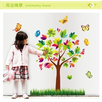 Free shipping new cartoon color tree wall stickers fifth generation AY7114