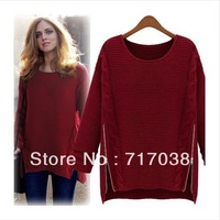 2013 Autumn Loose Sweaters thickening side zipper Women's pullover Sweater