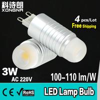 Free Shipping 4pcs/Lot AC220V G9 3W LED Bulb Cold White(6000~6500K)/ Warm White(3000~3200K) 2 YEARS WARRANTY