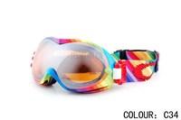 Free shipping 2013 new fashion ski goggles anti-ultraviolet& fog skiing glasses/snowboard goggle Glasses with nonslip strip