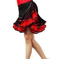 Women Latin dance  diamond short bust skirt adult dance skirt performance dress
