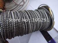100yard/Roll White&Black Real Hiderope 3mm Braided Genuine leather Cord