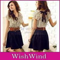 With Belt Japan Women Summer Chiffon Mini Dress Short-sleeve  Polka Dots Cut Dresses Waist Beige+Black Hot Sales