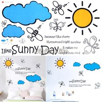 2014 New Design Home Wall Sticker Decal Removable Sun + Cloud Pattern Decoration Wall Paster/Poster 6815