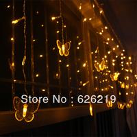 Free fedex 4x0.4x0.5m Led curtain bufferfly lights flasher Newyear's day Christmas wedding decoration curtain lights