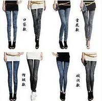 1pcs Fashion 14 styles womens leggings faux denim jeans Female skinny pencil pants slim elastic stretchy legging + Free Shipping