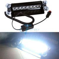 New Car Truck 8 LED Strobe Light Flash Light Dash Emergency White DC 12V Free Shipping 2973# Luz LED Las Luces Del Coche