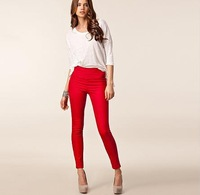 Brand design womens slim high elastic candy color pencil pants with zipper decoration in back for dropship